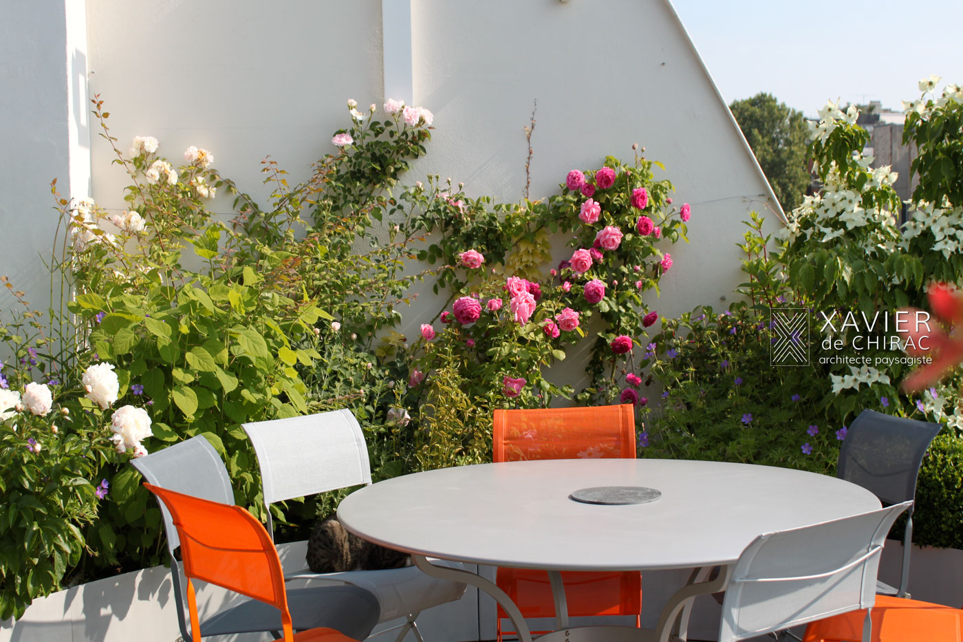 terrasse arc en ciel Paris New York terrace garden with flowers Xavier de Chirac